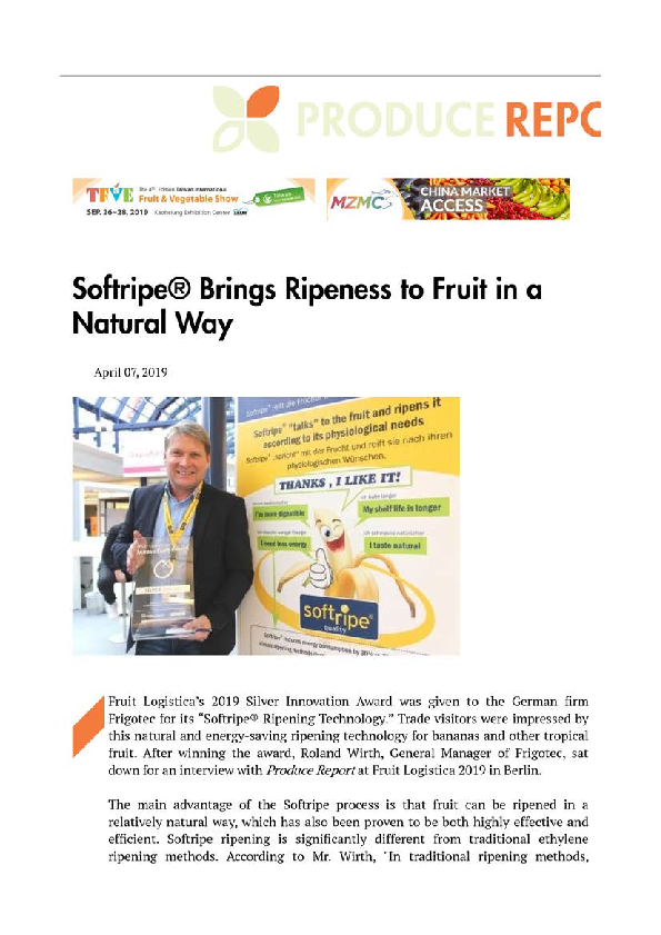 Managing Director Dipl. Ing. Roland Wirth with Innovation Award 2019 in the Produce Report