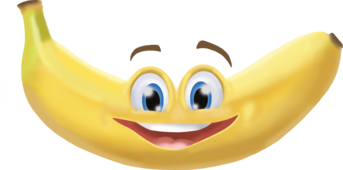 Banana with a smiling mouth and happy eyes