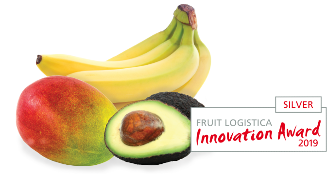 Banana hand with mango and avocado next to Innovation Award logo of 2019